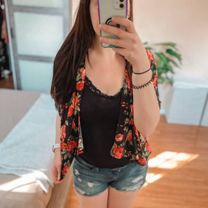 Red Rose Print Floral Open Cardigan
